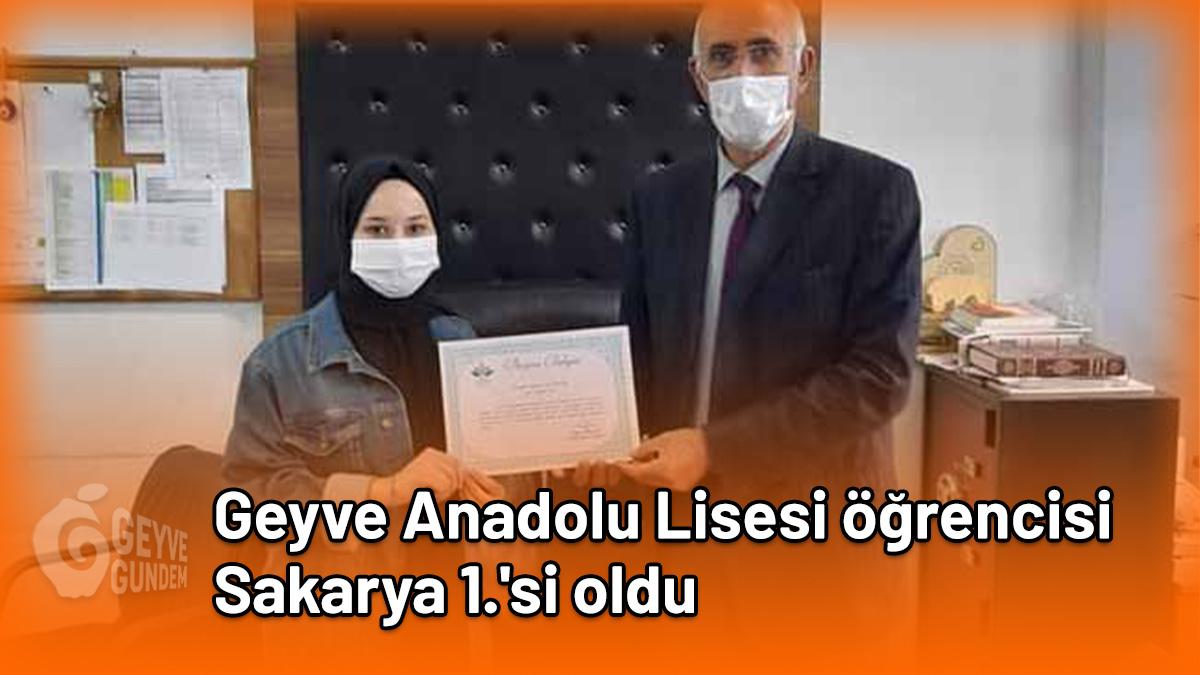 Geyve Anadolu Lisesi öğrencisi Sakarya 1.'si oldu